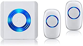 Penck Wireless Doorbell, Caregiver Call Button Wireless Nurse Call Alert System with 1 Plug-In Receiver and 2 Waterproof Push Buttons Transmitters Operating at 500-Feet, Adjustable Volume, 52 Chimes