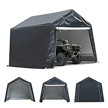 TOOCA 7x12x7.4 Ft Portable Garage Tent Kit Outdoor Carport Canopy Storage Shelter Shed with Detachable Roll-up Zipper Door for Motorcycle Gardening Vehicle ATV Storage Ultimate Gray