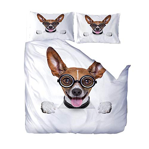 PANDAWDD Duvet Quilt Cover Set - Poly Cotton 220x260cm Eyes puppy Bedding Set With Matching Pillowcases- Easy Care Machine Washable - Durable | Single Double King Super King Bed Size
