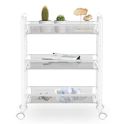 HAITIAN 3 Etagen Küchenwagen mit abschließbaren Rädern, Gitterkorb für Küche Büro Bad weiß