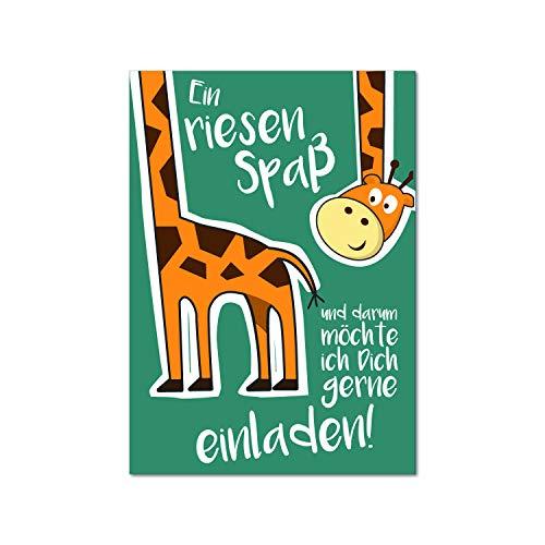 15 Giraffen Einladungskarten I dv_179 I DIN A6 I Einladung Set zum Ausfüllen für Kinder Mädchen Jungen I Kindergeburtstag Einschulung Baby-Party