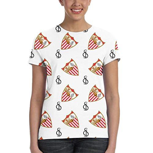 Sevilla FC Camiseta De Los Mujer, Imprimen Camiseta Camiseta De Manga Corta Camiseta Blusa Tops 3D