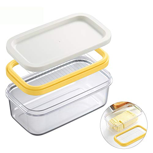 Plastic Butter Dish, Covered Butter Dish with lid, Plastic Butter Keeper with Cutter for Easy Cutting, Small Butter Container for Two 3.5oz Sticks Butter