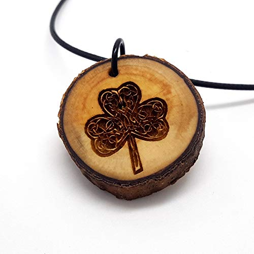 Irish Shamrock Wooden Pendant Necklace, Celtic Knot Irish Symbol