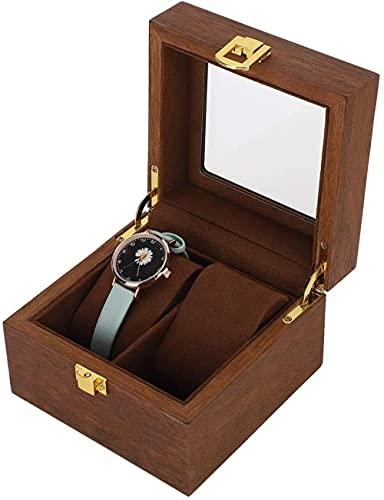 Serrale Caja de reloj Vitrina de joyería 2 ranuras Clamshell Caja de almacenamiento de reloj OrganizadorColor nogal negro