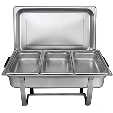 Tiger Chef 8 Quart Full Size Stainless Steel Chafer 3 1/3rd Size Chafing Food Pans and Cool-Touch Plastic on top (1, Full Size with 1/3rd Inserts) warming trays for buffets