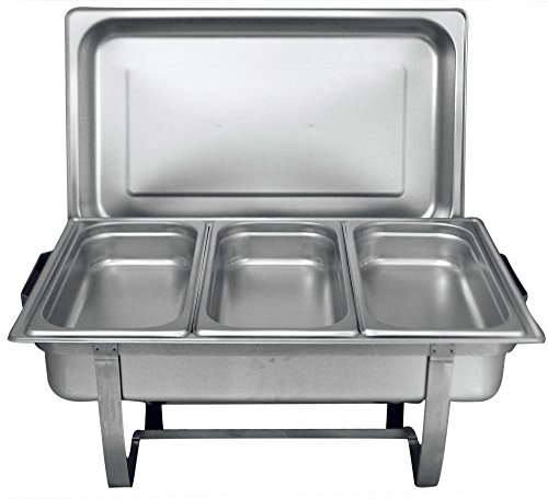 TigerChef 8 Quart Full Size Stainless Steel Chafer with Cool-Touch Plastic Handle (1, Full Size with 1/3rd Inserts)
