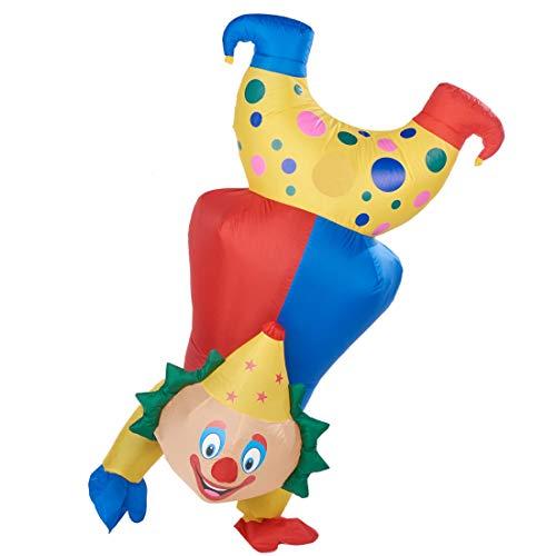 Joliyoou Halloween Funny Costume, 7 FT Inflatable Clown Costume Standing On Tiptoe, Halloween Blow Up Clown Costume Adult Men Yellow