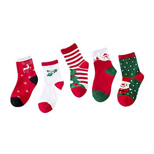 MIRRAY Weihnachten Socken 5 Paar Nette Unisex Baby Kinder Jungen Mädchen Casual Socken Nette Strümpfe Stoppersocken