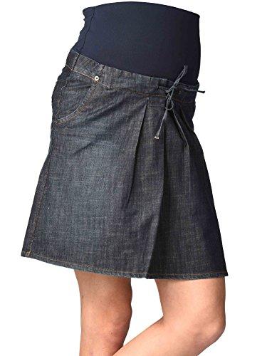 Christoff Umstandsrock Schwangerschaftsrock Jeans-Rock - Taschen Falten Ziernähte - hoher Bund - A-Form - 114-14-8 - blau Denim Blue - Gr. XS