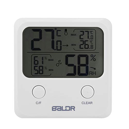 Indoor Thermometer & Hygrometer, Draagbare Digitale Grote LCD Vochtigheid en Temperatuur Meters met Beugel en Hangende Gat voor Home Office School, Maximale Minimale Record Display
