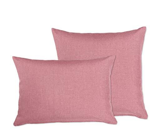 Fundas de almohada (2 unidades, color a elegir, aspecto de lino, impermeable, 40 x 60 cm, Beautex, tejido, Rose, 50 x 50 cm