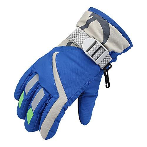 clacce Kinder Skihandschuhe, Wasserdicht und Winddicht Winter Warme Handschuhe, für Junge Mädchen Laufen Skifahren Wandern Radfahren Snowboarden (Blau, 1 Paar)
