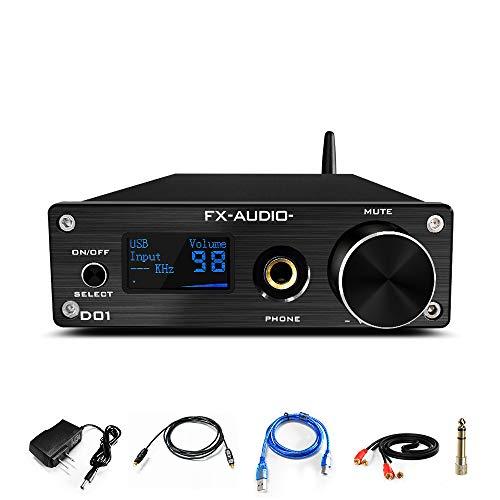 FX AUDIO Bluetooth DAC and Headphone Amp ES9038 Q2M XMOS XU208 DSD512 PCM 24Bit/ 768kHz APTX-HD/LDAC HiFi Bluetooth 5.0 USB DAC&6.35mm Headphone Amplifier (Black)