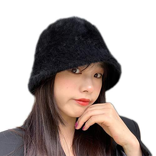 Qiman Sombrero de piel suave para mujer, para invierno, monocolor, grueso, cálido, hip-hop, forma de campana plegable