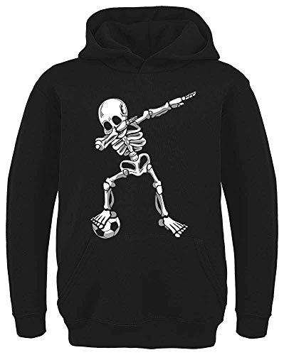 HARIZ Kinder Hoodie Dab Skelett mit Fussball Dab Dabbing Tanzen Halloween Inkl. Geschenk Karte Schwarz 128/7-8 Jahre