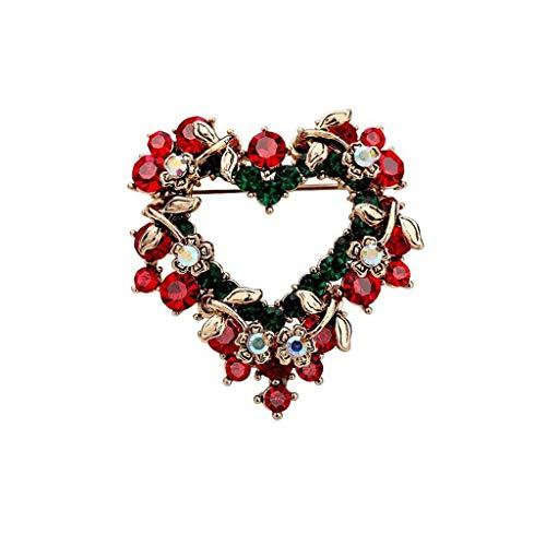 ZWSHOP Broche navideño en forma de corazón, chapado en oro de 18 k, elementos de cristal, for fiesta, casandose 4.3x4cm