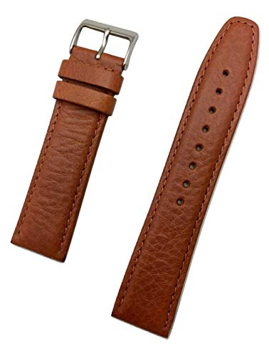 22mm Genuine Leather Watch Band by NewLife | Tan, Lightly Padded, Smooth Replacement Strap that brings New Life to Any Watch (Men's Standard Length)