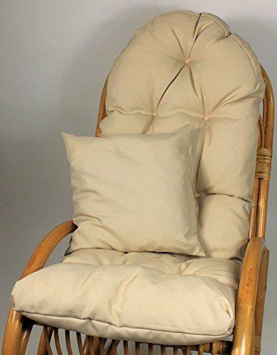 Rattani Auflage/Polster für Schaukelstuhl, Liegestuhl, Ersatzpolster Gr. 130 x 50 x 12 cm, Fb. beige + Zierkissen 40 x 40 cm