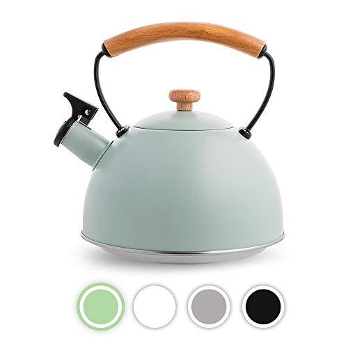 FLORINA Wasserkessel Induktion Gas 2,3 L Retro Vintage Flötenkessel Edelstahl Teekessel mit Holzgriff Teekessel Pfeiffe Elektroherd Keramikherd für Tee Kaffee Mint Nature LINE