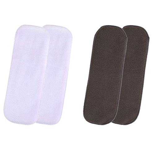 Graysee Kids Baby Insert Pads Reusable Soft 5 Layers Inserts for Baby Cloth Diaper, High Absorbing Washable Liners, Age 0-36 Months (Pack of 2 White + 2 Black)