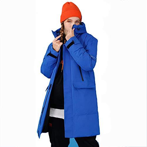 YAR-DRESS Chaqueta de plumón de pato blanco de invierno de 2020, larga moda, para mantener el calor, gruesa a la moda, con capucha, para parejas, chaqueta de plumón para exteriores, azul, S