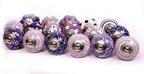 Glitknob 14 Knobs Purple & White Hand Painted Ceramic Knobs Cabinet Drawer Pull