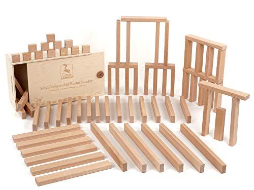 CreaBLOCKS Holzbausteine Ergänzungspaket Flache Quader ( unbehandelte Bauklötze) Made in Germany