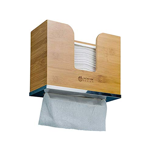 JackCubeDesign Bamboo Paper Towel Dispenser Wall Mount Bathroom Décor Countertop Paper Tissue Towel Holder Multifold Z-Fold Trifold C-fold Paper Towels for Bath and Kitchen – MK416A