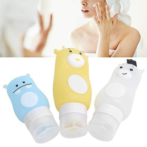 Botella recargable, botella exprimible de animales de dibujos animados, botella de viaje de loción, envase cosmético vacío