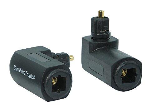 2X Sunshinetronic Winkelstecker für Toslink Kabel, Toslink 90° Winkeladapter, drehbar