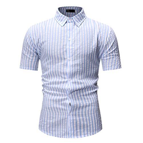 Camisa Hombre A Rayas Básica Verano Hombre Manga Corta Ajustada Elástica Clásica Hombre Urbana Moderna Informal Negocios Camisa Henley Hombre C-Blue XL