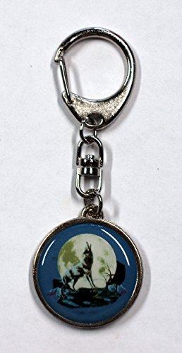 Porte-clé métal loup 95 x 35 mm motif bilatéral