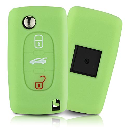 ASARAH Cover chiavi auto PREMIUM in silicone compatibile con Citroen, Copertura protettiva per chiavi dell'auto, Copertina per tipo di chiave 3BKB - Luminoso verde