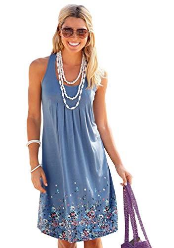 OMZIN Damen Freizeitkleider Tunika Rundhals Strandkleider Slim Fit Rockbilly Partykleid Blau XL