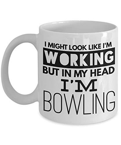 N\A Kaffeebecher-Geschenk für Bowling-Spieler mit lustigem Sprichwort Ich könnte Aussehen, als würde ich Arbeiten, Aber in Meinem Kopf Bin ich Bowling-Geburtstag Weihnachten