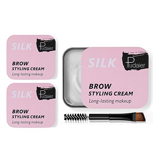 Eyebrow Gel Kit with Mini Brush 2 Pcs Long Lasting 4D Brow Styling Cream Makeup Clear Waterproof Eyebrow Soap Balm Pomade Cosmetics