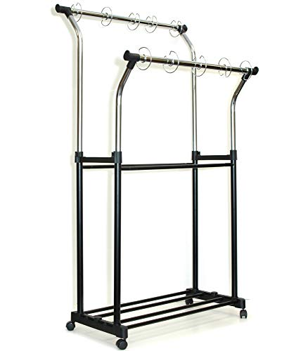 Carson Dellosa Double Pocket Chart Stand—Adjustable Visual Learning Organizer with Hanging Rings and Wheels, Classroom, Daycare or Homeschool (Black/Chrome)