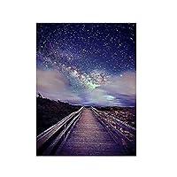 IYUFIL 星空の写真絵画キャンバス壁アートルームの装飾キャンバスプリントポスター壁の装飾写真掛ける準備ができて-20X28インチの木製フレーム