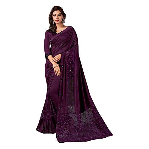 Pinkkart Paars Bollywood Geïmporteerde Stof en Net Ontwerper Saree Sari Blouse Indian Vrouwen Jurk Feestelijke 8421