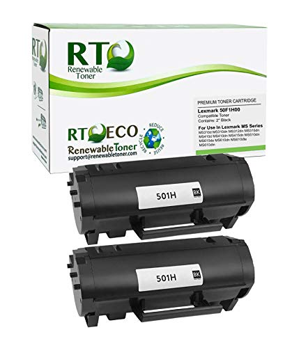 Renewable Toner Compatible High Yield Toner Cartridge Replacement for Lexmark 501H 50F1H00 MS Series MS310 MS312 MS315 MS410 MS415 MS510 MS610 (Pack of 2)