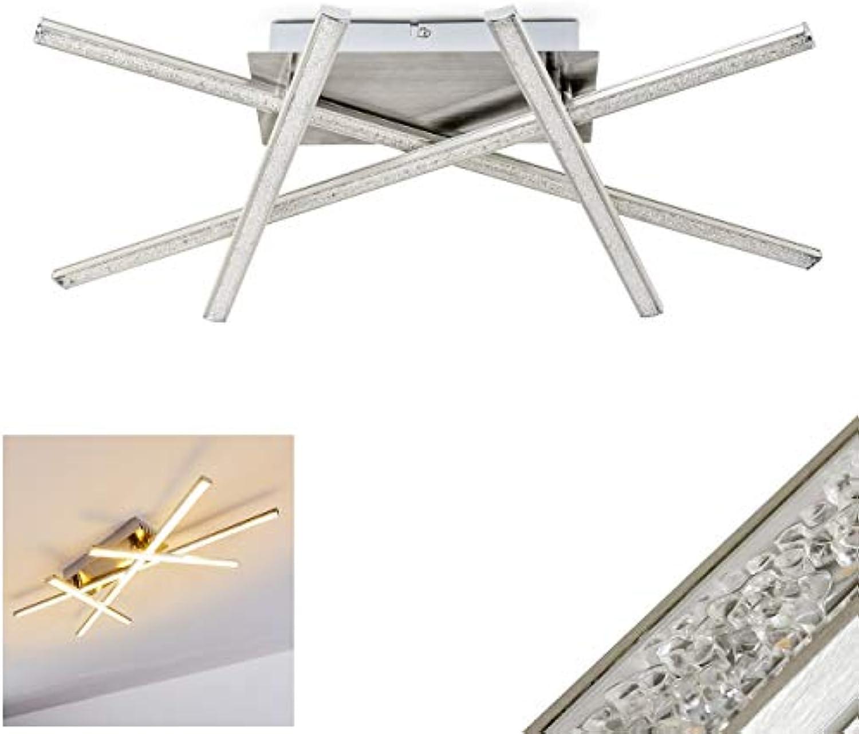 LED Deckenleuchte Saanich, Deckenlampe aus Metall in Nickel-matt, 4 Lichtleisten mit Glitzereffekt, 20 Watt, 1660 Lumen, Lichtfarbe 3000 Kelvin (warmwei)