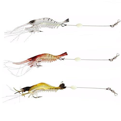 NewShot - Leurres de pêche en forme de crevettes souples lumineuses avec hameçons, couleurs mélangées, pour dorade, bar, merlan, vivaneau