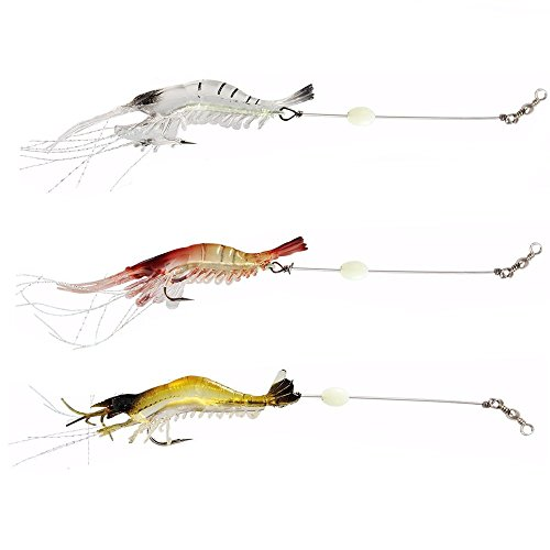 3pcs Soft Shrimp Fishing Lures with Hook Mixed Color Spinner Crank-Bait Lure Sea Fishing Bait Set CrankBaits for Bream Bass Flathead Whiting Snapper by Asdomo