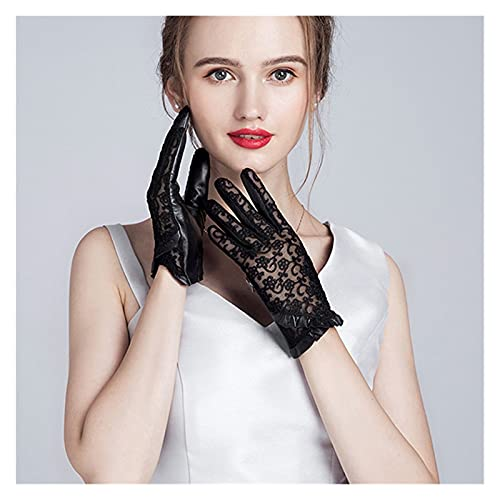 GUYANMAY Lace Gloves 2021 Summer Women Genuine Leather Gloves Ladies Elegant Gloves Women's Black Driving Gloves Anti-UV Lace Mittens (Color : Black, Gloves Size : S18cm)