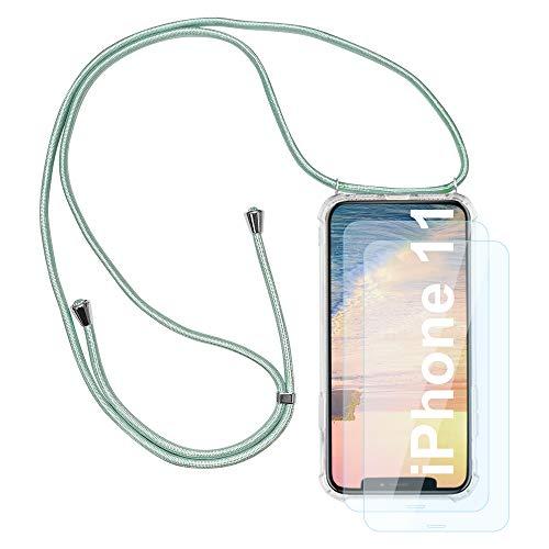 HaptiCover Telefon Halskette Hülle für iPhone 11 6.1 Handyhülle mit Lanyard Länge Verstellbare Schutzhülle Transparente Ultradünne Kristall Silikon TPU Stoßfeste Case
