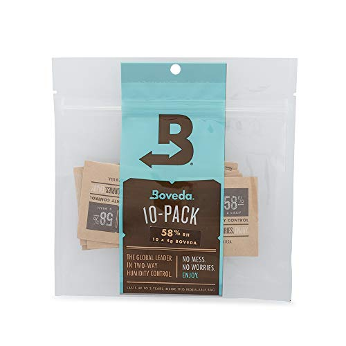 Boveda 58% RH 2-Way Humidity Control | Size 4 in 10-Count Resealable Bag