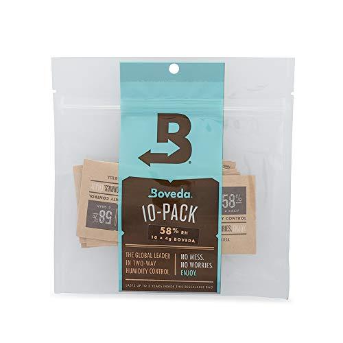 Boveda - Bolsitas para almacenar remedios naturales | Control doble de la humedad - 58% HR | Tamaño 4 para un máximo de 15g | Previene la pérdida de terpenos | Pack de 10