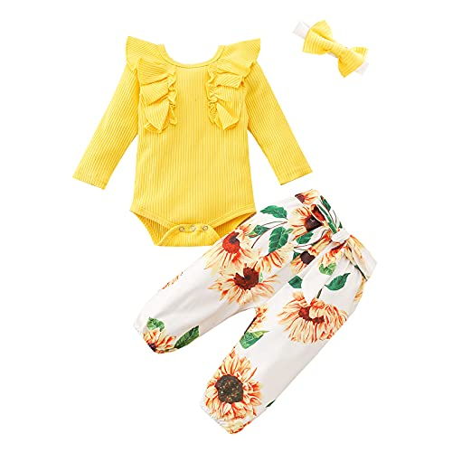 Psafagsa - Conjunto de ropa de bebé para bebé (0-24 meses), amarillo, 6-12 Meses