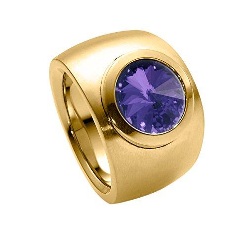 Heideman Ring Damen Coma Verlauf aus Edelstahl Gold farbend matt Damenring für Frauen mit Swarovski Stein Kristall Tanzanite lila im Fantasie Edelsteinschliff 10mm